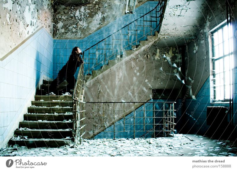 OUTPOURING OF THOUGHT Man Stand Solidify Calm Rain Tile Blue Window Mystic Old Derelict Chaos Interior design Transience stairwell blurred