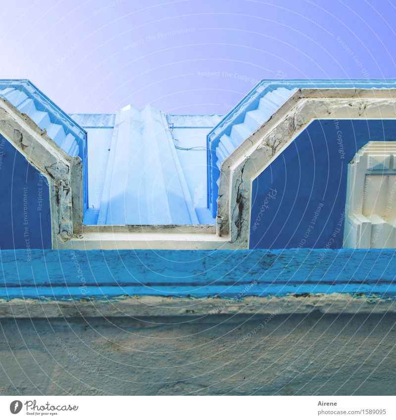 Blue Colour House (Residential Structure) Stone Above Facade Bright Elegant Esthetic Happiness Creativity Joie de vivre (Vitality) Balcony Ease Positive