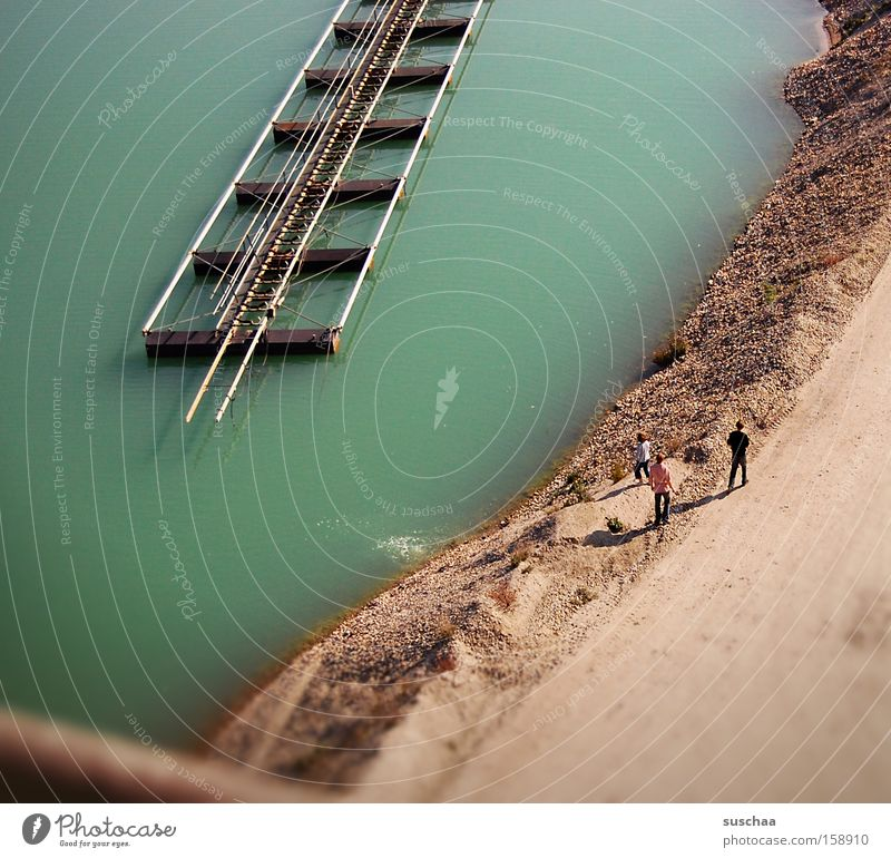 Water Green Beach Above Lake Sand Coast Small Industry To go for a walk Climbing Turquoise Pond Body of water Dig Lake Baggersee