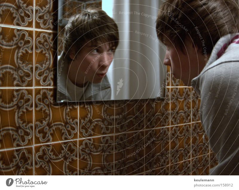 Human being Old Emotions Bathroom Tile Facial expression Flow Mirror image