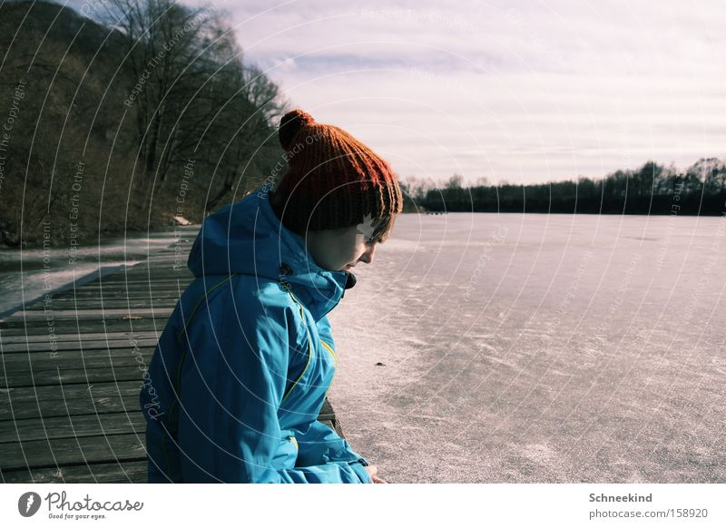 Woman Nature Blue Beautiful Winter Loneliness Relaxation Cold Freedom Lake Ice Cap Footbridge