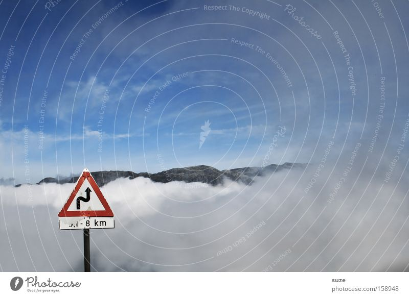 Sky Blue Clouds Street Mountain Lanes & trails Funny Fog Signs and labeling Transport Road sign Traffic infrastructure Warning label Upward Curve God