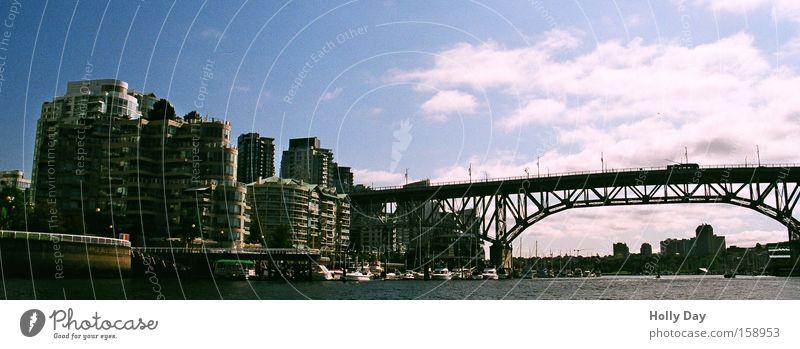 Vancouver Downtown Cambiebridge Bridge Canada Town High-rise Water Clouds Skyline Steel bridge Bridge construction Architecture Port City