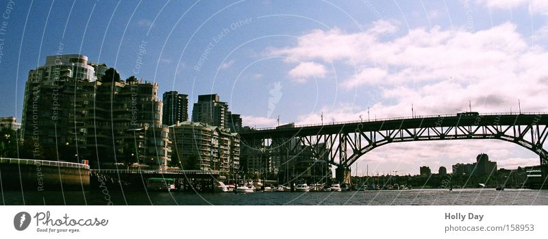 Water City Clouds Architecture High-rise Bridge Skyline Canada Vancouver Port City Steel bridge Bridge construction
