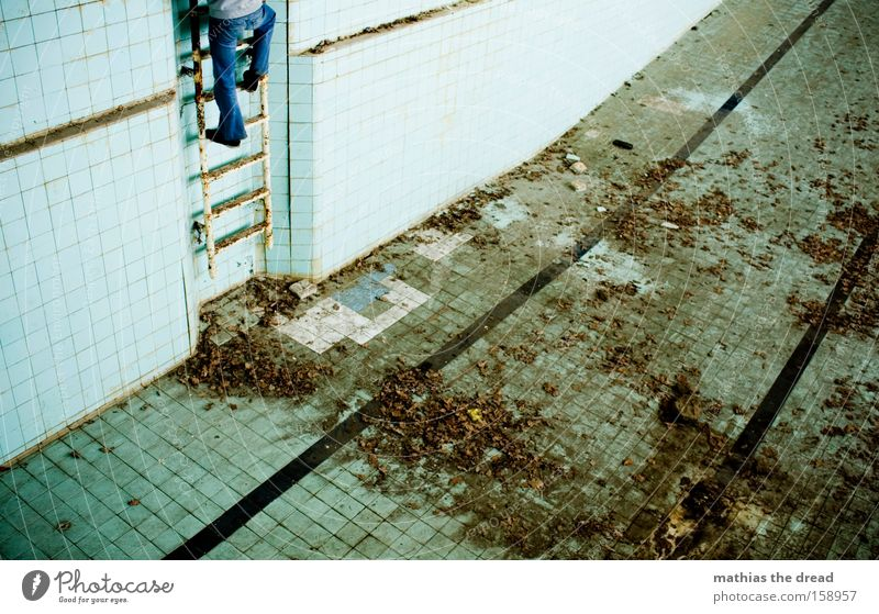 Human being Man Masculine Empty Bathroom Swimming pool Climbing Derelict Ladder Go up Descent Indoor swimming pool