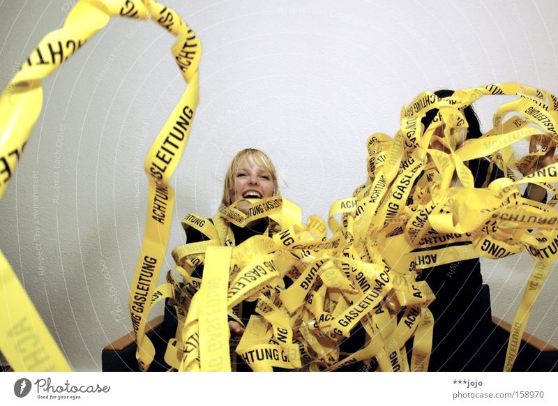Woman Joy Yellow Signage Carnival Warning label Noodles Chaos Barrier Muddled Throw Gas Caution Warning sign Paper streamers Gas pipe