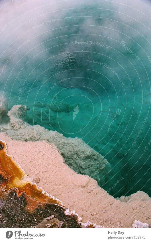 Hot - Hot - Yellowstone Water Swimming pool Wyoming Green Steam Algae Bacterium Edge Multicoloured Odor Palett USA Yellowstone Nationalparc turquoise gravel
