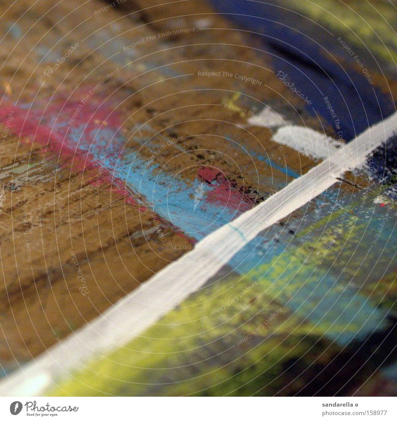 The White Stripe Paintbrush Colour Dye Line Wood Table Painting and drawing (object) Art Wood grain Blue Cross Road junction Crossroads Crucifix