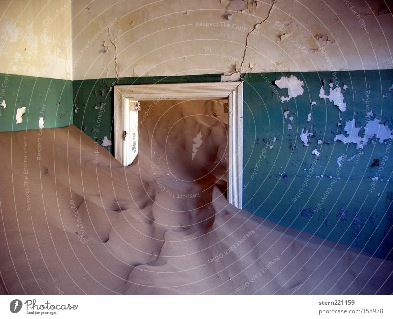 Vacation & Travel Loneliness Wall (building) Sand Time Africa Desert Transience Derelict Ruin Dune Crack & Rip & Tear Namibia Force of nature Doorframe