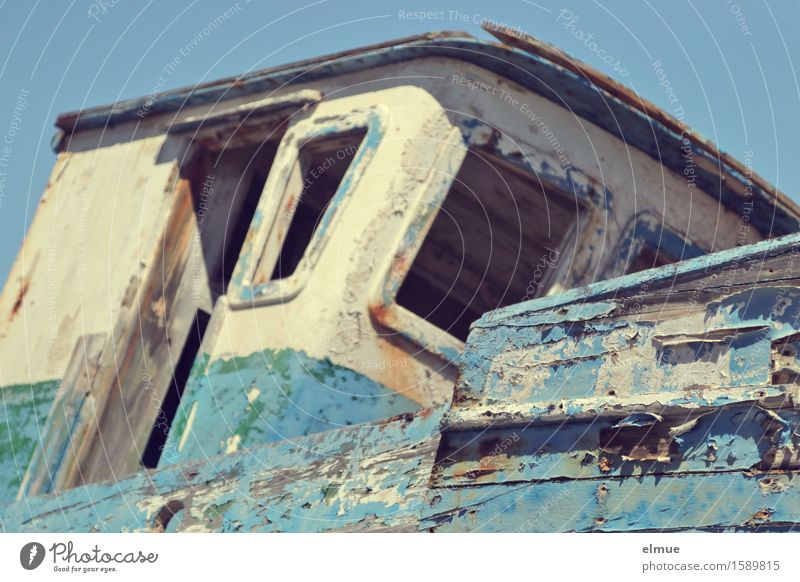 tilted position Vacation & Travel Trip Adventure Cruise Fishing boat Motor barge Wood ailing cabin boatman Old Lie Maritime Blue Optimism Romance Longing