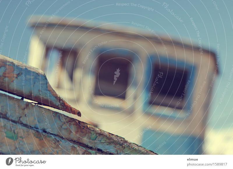 scrapped Vacation & Travel Captain boatman Navigation Fishing boat Watercraft Wreck Wood Lie Broken Blue Romance Thrifty Sadness Wanderlust Embitterment