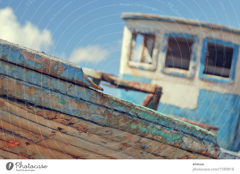 Santa Maroda Vacation & Travel Summer vacation Sky Clouds Navigation Fishing boat Motor barge barge for apples Plank Wood Derelict Historic Broken Maritime Blue