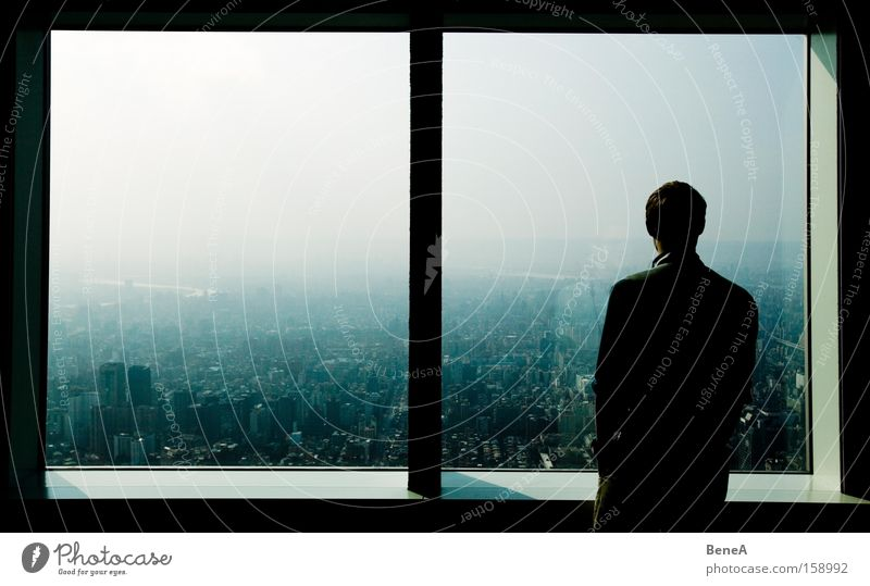 Human being Man Vacation & Travel City Adults Window Dream Horizon Large Masculine Tourism High-rise Vantage point Asia Skyline Downtown