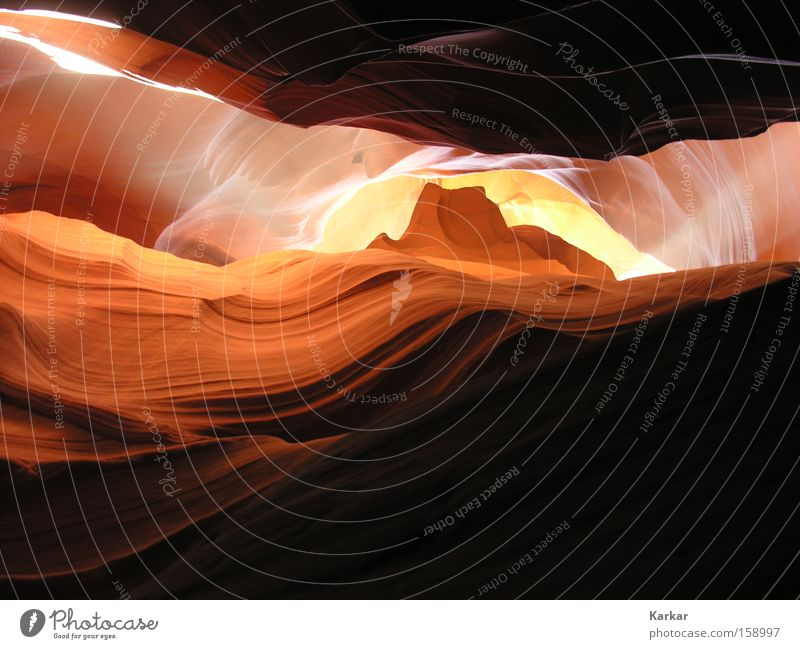 stone wave Stone Sand Erosion Cave Americas Canyon Arizona Light Bright Light (Natural Phenomenon) Nature Landscape Desert USA Earth Orange antelope Beautiful
