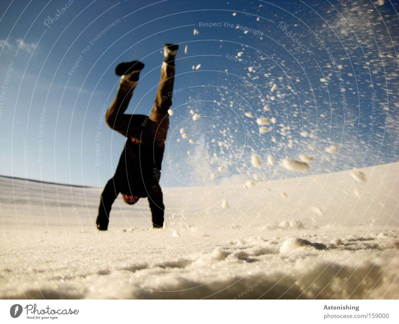 SnowStand Snowfall Handstand Man Human being White Flake Sky Blue Winter Legs Cold Movement Dynamics