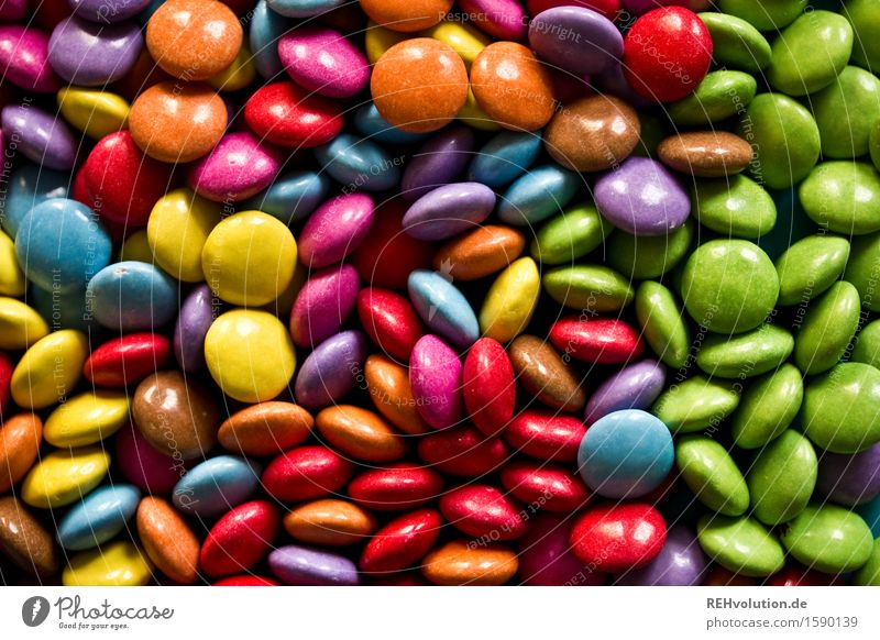 green Candy Chocolate Sweet Infancy Chocolate buttons Dragee Delicious Many Heap Sense of taste Colour photo Multicoloured Interior shot Day