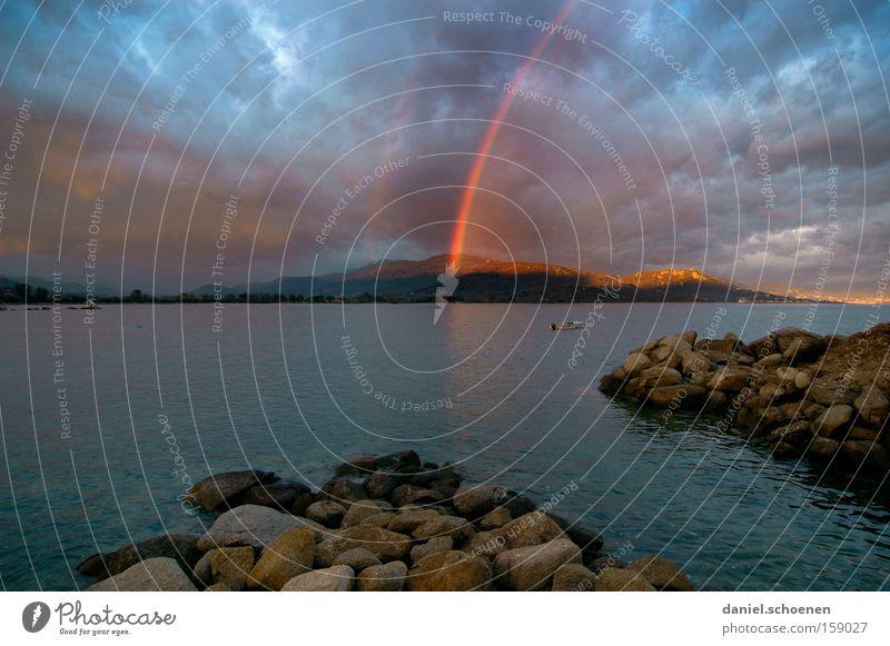 treasure island Rainbow Island Thunder and lightning Sun Sunbeam Ocean Water Vacation & Travel Travel photography Mediterranean sea Sky Beach Coast Light