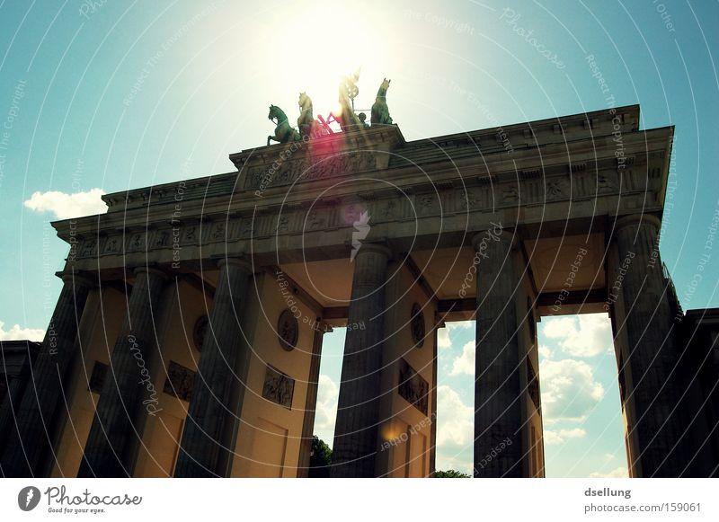 Summer Sun Warmth Berlin Horse Landmark Monument Capital city Statue Blooming Monumental Carriage Rider Halo Brandenburg Gate
