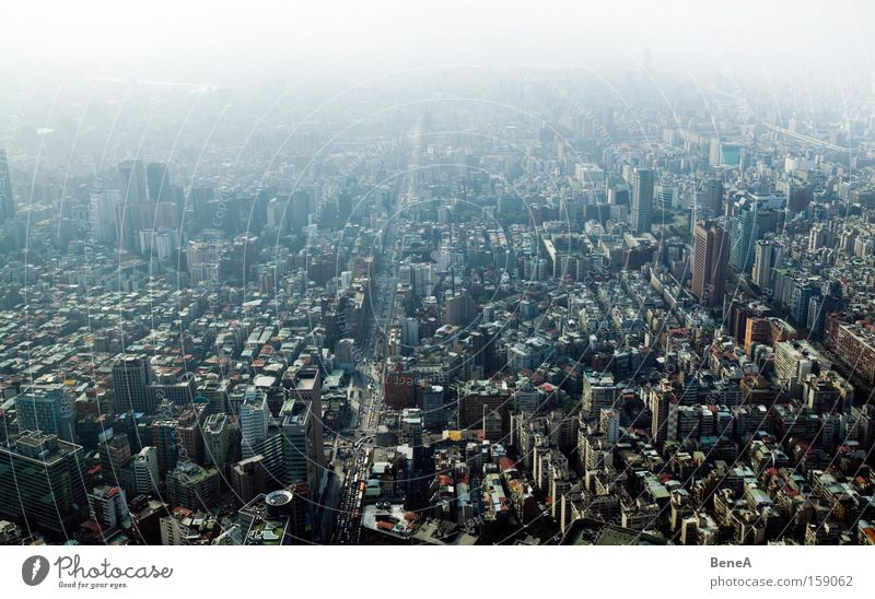 Sky City Street Building Large High-rise City life Vantage point Asia Skyline Smog Environmental pollution Taiwan Taipei Urbanization