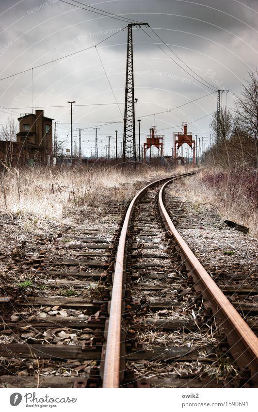 veteran Technology Electricity pylon Cable Falkenberg/Elster Germany Transport Traffic infrastructure Rail transport Railroad Railroad tracks Railroad system