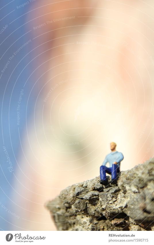 Beautiful view Human being Masculine Man Adults 1 30 - 45 years Stone Observe Looking Sit Small Adventure Relaxation Uniqueness Creativity Miniature Figure
