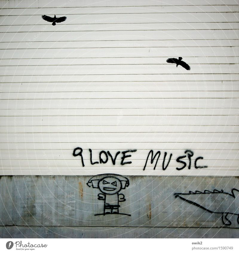 hipster Leisure and hobbies Work of art Culture Youth culture Subculture Graffiti Graph Drawing Human being Headphones Listen to music Wall (barrier)