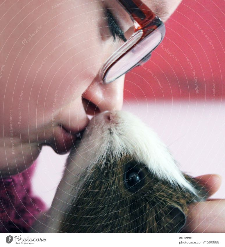 little kisses Feminine Girl Young woman Youth (Young adults) Face 1 Human being 13 - 18 years Animal Pet Animal face Pelt Petting zoo Guinea pig Rodent Touch