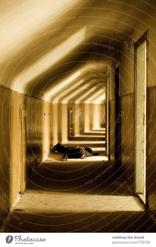 Human being Man Dark Death Architecture Door Round Lie Transience Derelict Ruin Hallway Corridor Production