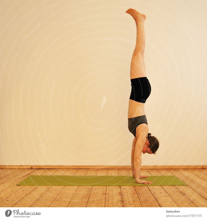 change the perspective! Lifestyle Elegant Meditation Yoga Ashtanga Handstand Feminine Young woman Youth (Young adults) 1 Human being Breathe Discover Fitness