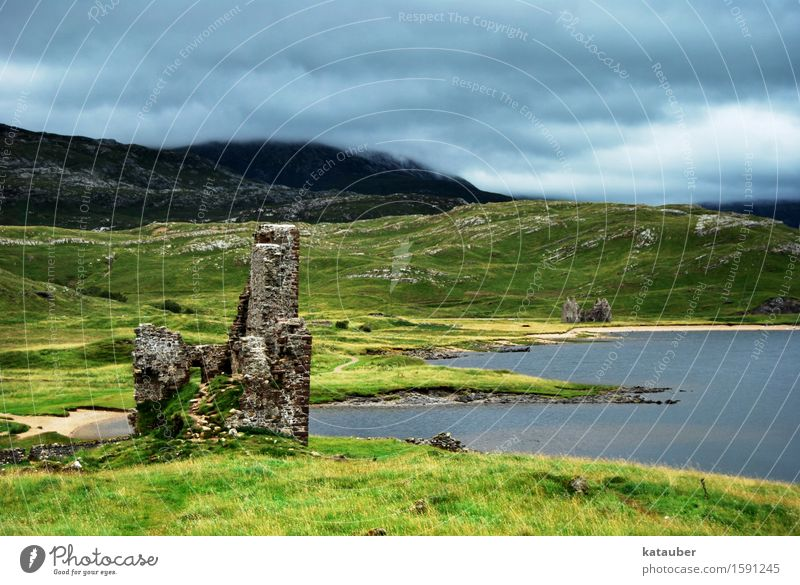 time-honored Adventure Freedom Sightseeing Architecture Landscape Clouds Bad weather Grass Hill Lakeside Scotland Building Ruin castle ardvreck Wall (barrier)