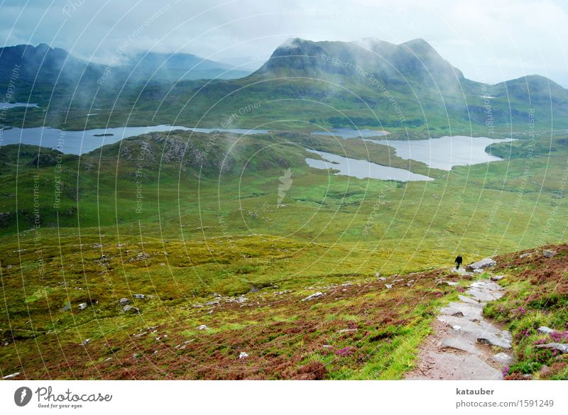 doubts about the view Hiking Landscape Clouds Summer Bad weather Fog Rain Meadow Mountain Lake Scotland Highlands Hollow Dark Gigantic Infinity Cold Wet Green