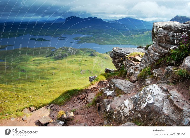 Cloudy to cheerful Landscape Beautiful weather Bad weather Meadow Mountain Peak Lake Scotland Highlands Rock Threat Dark Gigantic Infinity Juicy Gloomy Green
