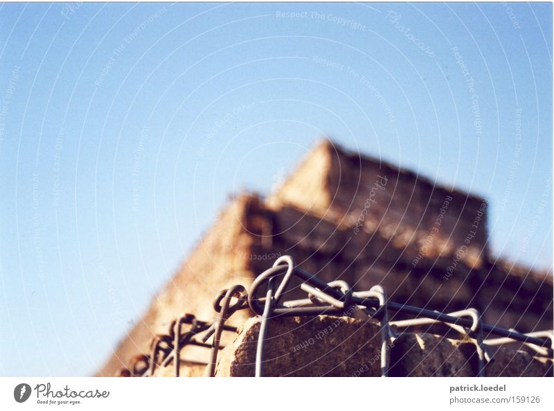 Sky Blue Mountain Stone Wall (barrier) Metal Architecture Environment Construction site Hill Upward Chain Captured Build Barrier