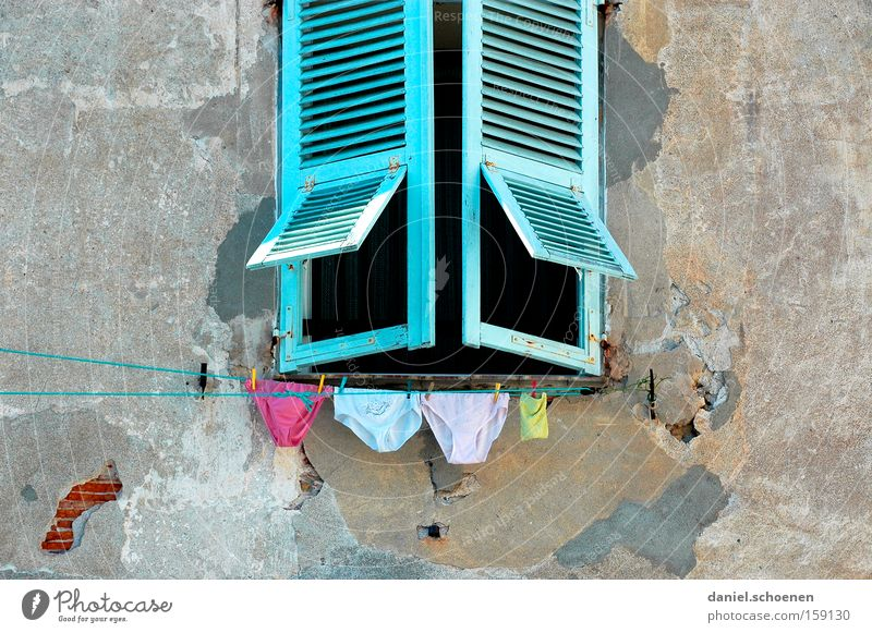 Old Blue Vacation & Travel Colour Window Clothing Facade Travel photography France Underwear Laundry Picturesque