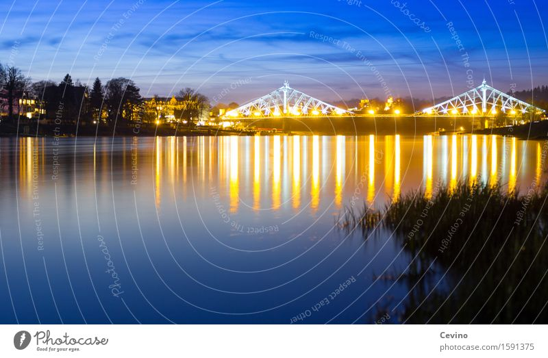 Nature Blue Town Water Landscape Germany Transport Contentment Europe Beautiful weather Bridge River Downtown River bank Traffic infrastructure Dresden