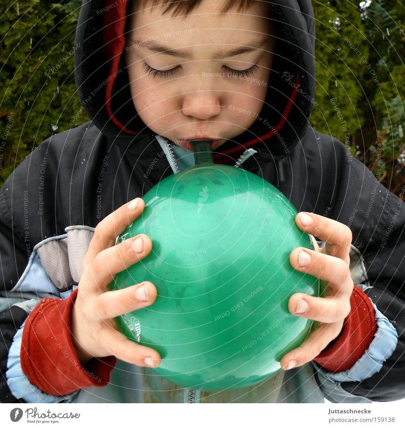 Child Green Joy Boy (child) Success Balloon Infancy Blow Effort Hooded (clothing)