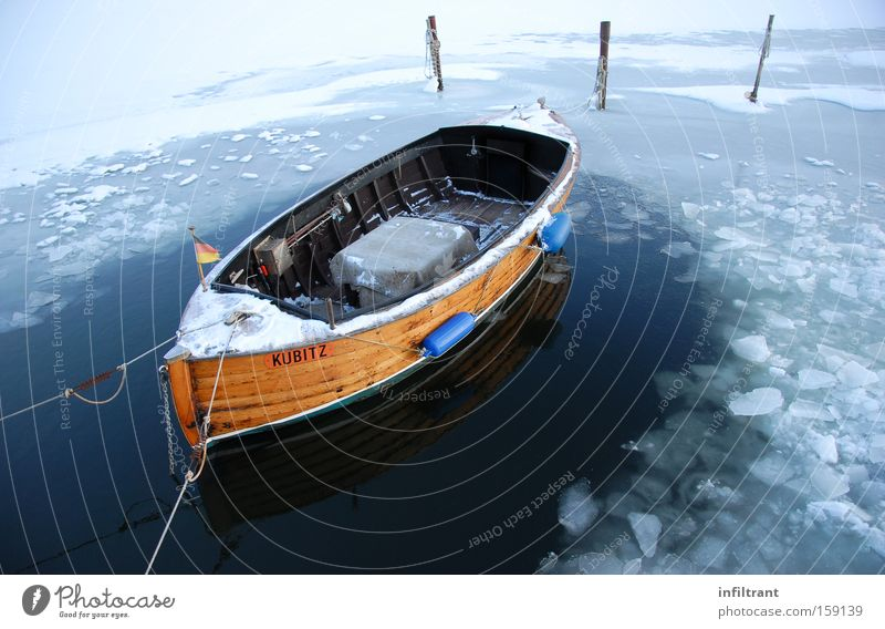 Boat in winter Watercraft Winter Cold Snow Ice Baltic Sea Ocean Lake Jetty Frozen Leisure and hobbies Navigation