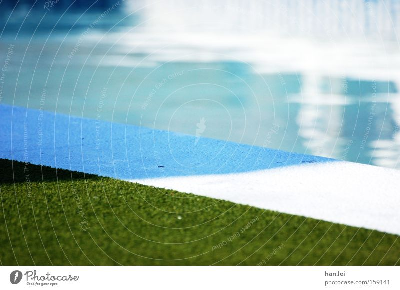swimming pool Swimming pool Water Summer Refrigeration Joy Lawn Grass surface Corner Relaxation Refreshment Leisure and hobbies Playing