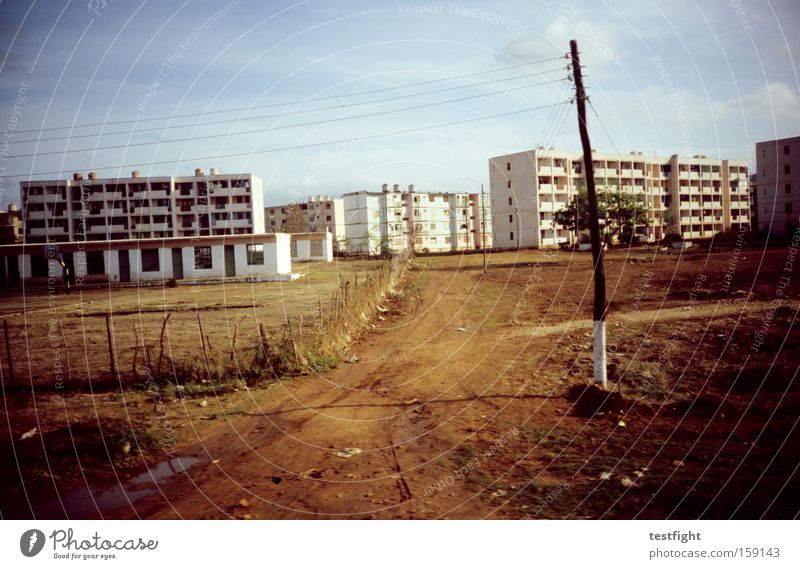 Old City Architecture Derelict Analog Cuba Prefab construction Sixties Settlement Suburb Gravel road