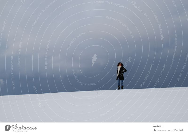 Between heaven and earth Sky Earth Snow Clouds Woman Human being Winter Fog Cold Loneliness Stand Gray Blue White