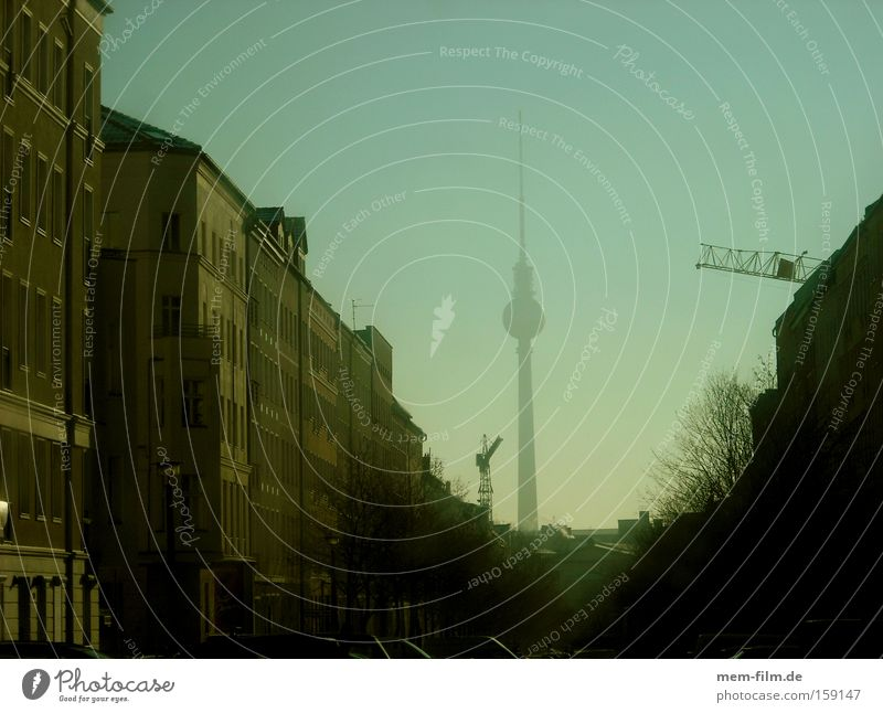 Street Berlin Building Flat (apartment) Fog Tourism Canyon Berlin TV Tower Capital city Old building Redevelop Broker