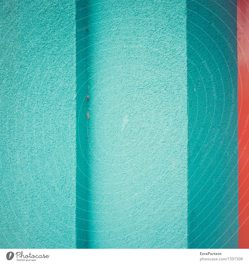 Blue Colour Red House (Residential Structure) Architecture Wall (building) Building Wall (barrier) Line Facade Design Concrete Corner Illustration Stripe