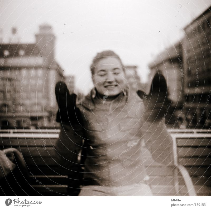 our laughter will echo through the streets forever. Town Laughter Joy Applause Analog Medium format Trashy Black White yeah yeah 6x6