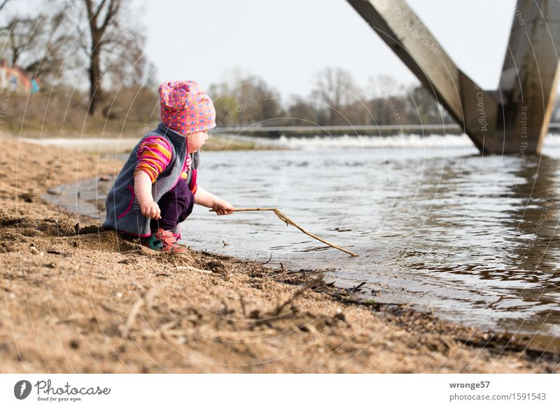 Human being Child Water Red Girl Spring Autumn Playing Gray Brown Wet River River bank Toddler Waterfall Elbe