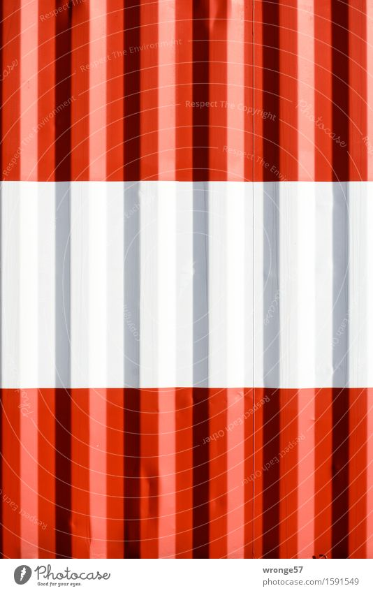red-white-red Container Tank Metal Steel Stripe Flag Gray Red White Petrol station Red-white-red Colour photo Multicoloured Exterior shot Close-up Deserted