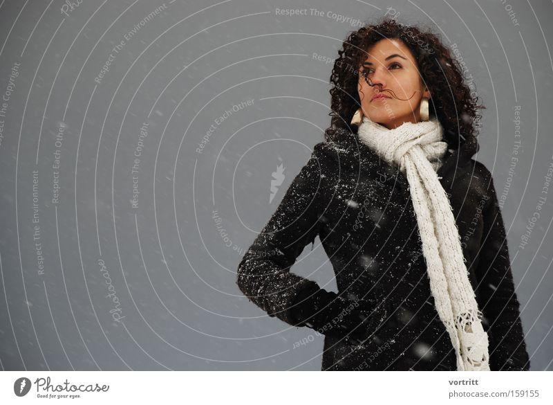 Woman Human being Winter Dark Snow Wind Posture Model Jewellery Earring Jubilee Flake Snowstorm