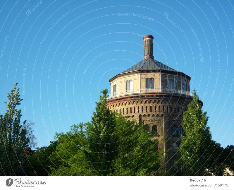 Oh water tower, how beautiful you are! Berlin Prenzlauer Berg Tower Water tower Spring Summer Sky Tree Bushes Landmark Monument Fat Hermann