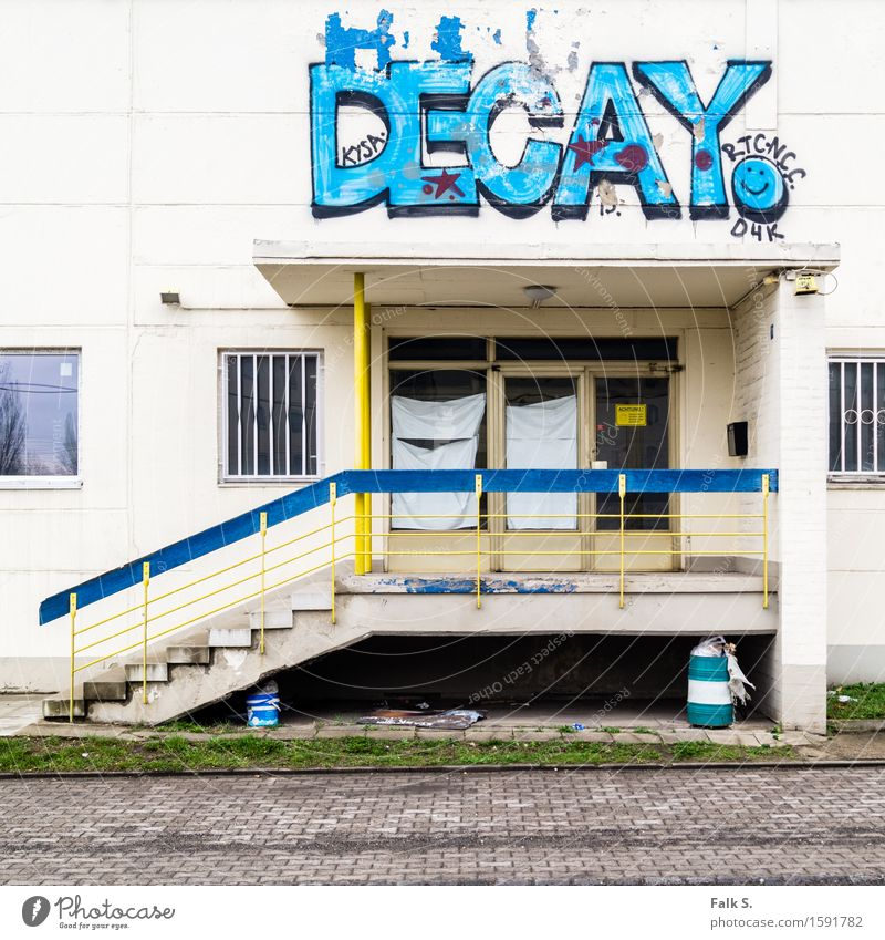 decay Youth culture Subculture Graffiti Outskirts Deserted House (Residential Structure) Industrial plant Ruin Manmade structures Building Entrance Canopy