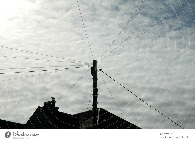 Sky Sun Clouds Industry Electricity Cable