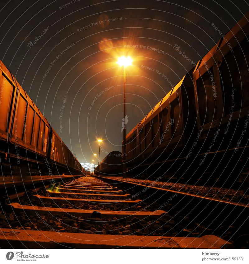 nightmare on railroad Railroad Transport Logistics Railroad car Freight car Container Shipping Railroad tracks Rail transport Industrial Photography Industry